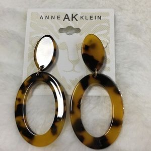NWT Anne Klein Faux Tortoise Drop Earrings